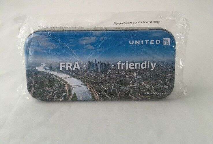 "UNITED AIRLINES FIRST CLASS AMENITIES TRAVEL KIT TIN ""FRA"" ~ FRANKFURT -  SEALED"