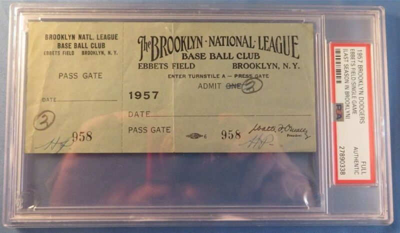 1957 Last Gm Ebbets Field Brooklyn Dodgers Full Ticket Pass Psa Sandy Koufax 5 W