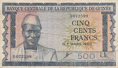 Billet banque GUINEE GUINEA 500 frs 1960 état voir scan 599