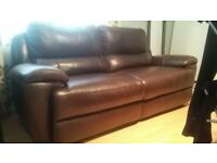 Electric brown leather recliner sofa