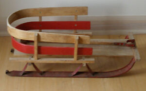 vintage child's wooden sleigh / sled