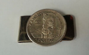 Money Clip with vintage 1958 Canada silver dollar