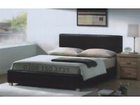 ❋❋ STYLISH & LUXURY ❋❋ DOUBLE LEATHER BED FRAME + HIGH QUALITY FULL FOAM MATTRESS BLACK OR BROWN