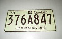 PLAQUE IMMATRICULATION QUÉBEC 1978