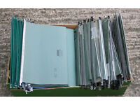 Box of 70 plus Filing Cabinet Suspension Files, Used Good Condition 16 inch wide