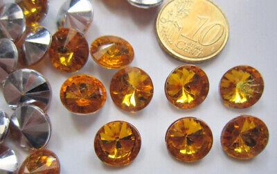 Cristal facetado diamante 10,8 mm dorado X 25 UNIDADES acrílico para pegar