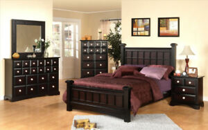 Black and Cherry Wood King Bedroom Set