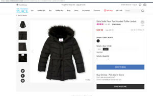 Girl 's Winter Puffer Jacket / Coat size 6-7  Years Old