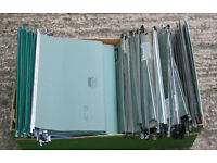 Box of 70 plus Filing Cabinet Suspension Files, Used Good Condition 16 inch wide.