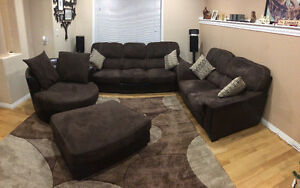 Couch, loveseat, round chair and ottoman