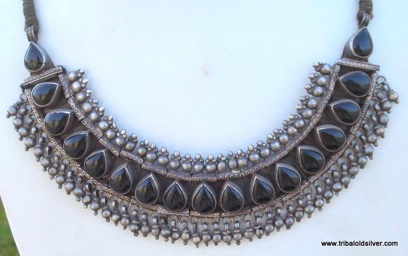 VINTAGE ANTIQUE ETHNIC TRIBAL OLD SILVER KUNDAN NECKLACE RAJASTHAN INDIA