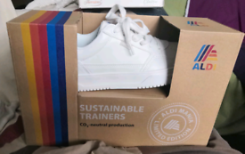 Aldi branded white trainers, size 6, brand new in box, sold out