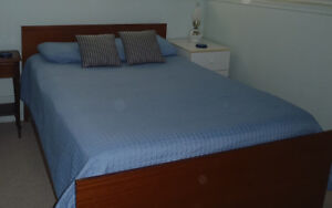 Wooden double bed frame and rails