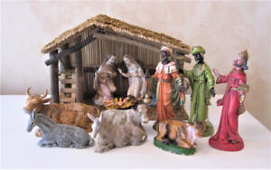 Vintage Creche Nativity Manger Scene Made In Italy