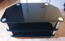 TV Table Glass with 3 shelves - almost new!
