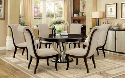 NEW Art Deco Style Round Table & Chairs - 7 piece Dining Room Furniture Set ICCQ