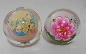 Vintage Chinese Reverse Painted Glass Balls Globe Orb Dome