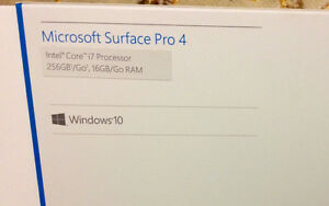 Surface Pro 4 256gb Intel Core I7 16gb New Sealed Neuf Scellé ++