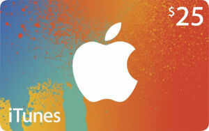 iTunes Gift Card $25CAD CANADIAN-To Be Used in iTune CANADA Only
