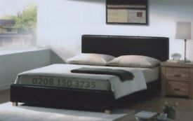 💖🔵💖 BRAND NEW 💖🔵💖 DOUBLE LEATHER BED WITH ORTHOPEDIC MATTRESS JUST £139 -- FAST DELIVERY