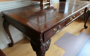 """""""Baker"""" Large Collectors Edition, Leather Top Writing Desk"""