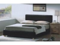DOUBLE LEATHER LUNA BED BRAND NEW WITH FREE OPEN COIL MATTRESS ONLY £99