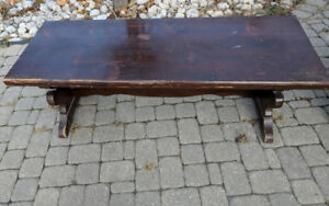 "Antique pine old tavern 54"" trestle coffee table"