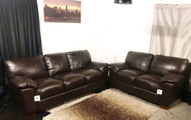 ''' New ex display dark brown Dfs real leather 3+2 seater sofas