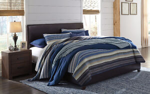 NEW QUEEN WOODEN, LEATHER AND FABRIC BED SETS