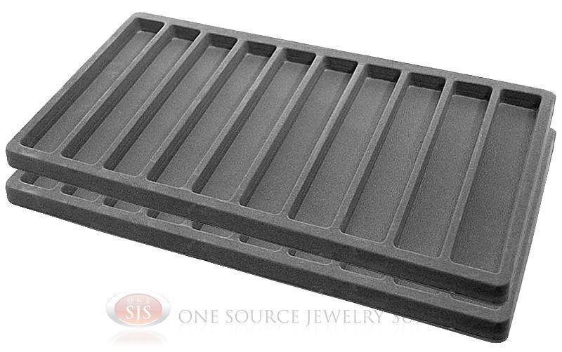 2 Gray Insert Tray Liners W/ 10 Slot Each Drawer Organizer Jewelry Displays