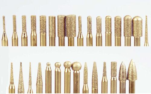 "30 pc Diamond Titanium Coated Burrs 1/8"" Shank 150 Grit Lapidary Rotary Bits"