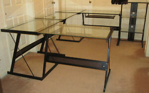 Home Office - L-Shaped Desk/3-Tier Printer Stand/Two Desks