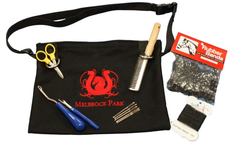 Horse Grooming/Plaiting Bag/Pouch/Kit 4 Professional Show Horse Plaits ~8 Piece
