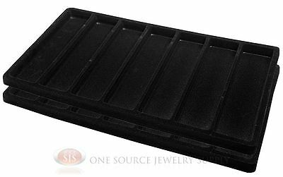 2 Black Insert Tray Liners W/ 7 Slot Each Drawer Organizer Jewelry Displays