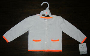 BRAND NEW: Carter's White Cotton Long-Sleeved Cardigan (6M)