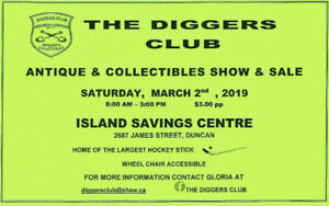 48th THE DIGGERS CLUB Antique + Collectible SHOW n SALE Mar 2