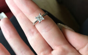 Appraised white gold solitaire engagement ring