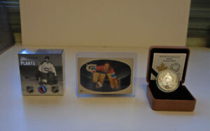 Jacques Plante pure silver coin & vintage hockey card