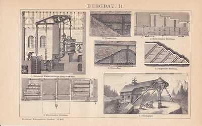 Mining Mine Clausthal Erzabbau Mine Goslar Rammelsberg Wood Engraving um 1894