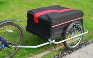 Bicycle Cargo Trailer Cart Carrier Garden Use w/ Cover, Black/Re