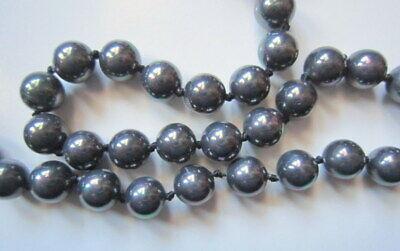 Collar de perlas cristal nacarado 8,5 mm gris oscuro irisado 46 cm...