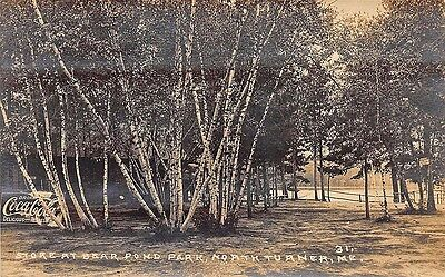 North Turner ME Store at Bear Pond Park Coca-Cola Sign RPPC (Stores Bear Me)