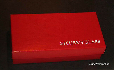 PAIR NEW in BOX STEUBEN glass CANDY CANE CANES RED WHITE air twist ornament XMAS