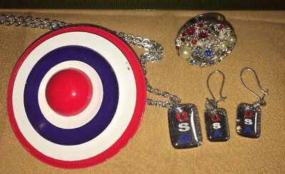 Patriotic USA Red White and Blue Jewelry, Necklace/Earrings Set Ring Pin