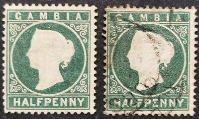 Gambia 1886-93, half d. Myrtle green mh & used
