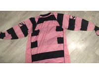 Pink and black football kit
