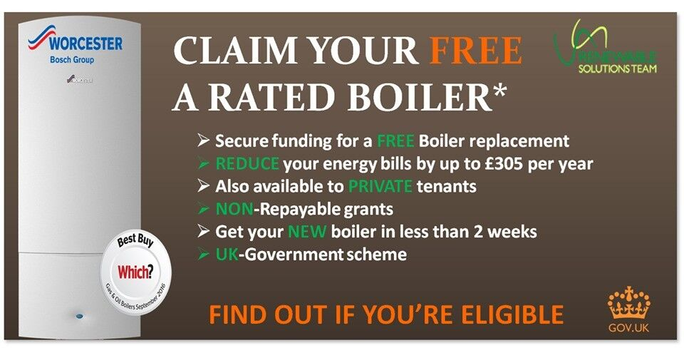 Free OIL/LPG/GAS A Rated Boilers & Installation through ECO Scheme