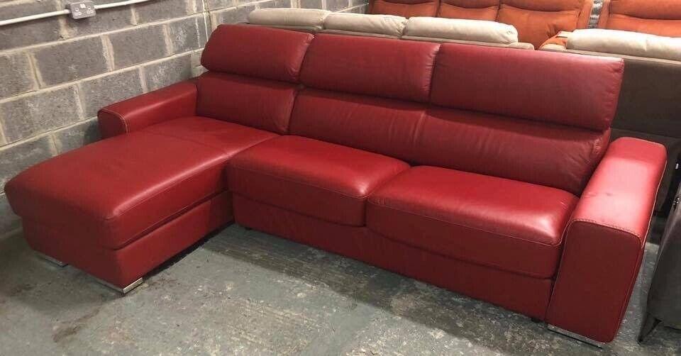 Enjoyable Dfs Red Leather Kalamos Chaise Sofa Bed In Pontardawe Swansea Gumtree Inzonedesignstudio Interior Chair Design Inzonedesignstudiocom