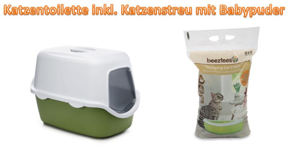 Katzentoilette Katzenklo inkl. Katzenstreu mit Babypuder 56x40x40cm *NEU*