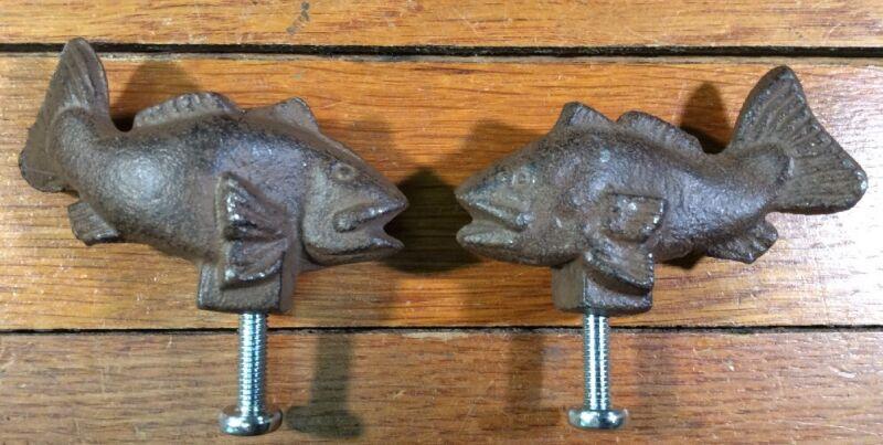 2 FISH Cast Iron Antique Style RUSTIC Handle Knob Pull Door Drawer Fishing